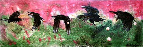 Raven Art Print featuring the painting Linking Fancy Unto Fancy by Sandy Applegate