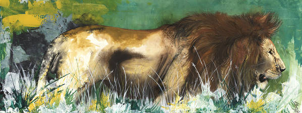 African American Artist Print featuring the painting The Lion by Anthony Burks Sr