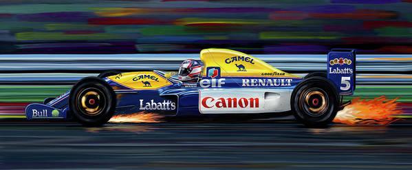 Automotive Art Print featuring the digital art Nigel Mansell Williams Fw14b by David Kyte