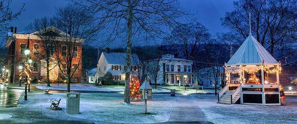 New Milford Print featuring the photograph Village Of New Milford - Winter Panoramic by Thomas Schoeller