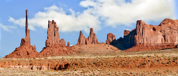 Johnston Art Print featuring the painting Monument Valley Totem Pole by Bob and Nadine Johnston