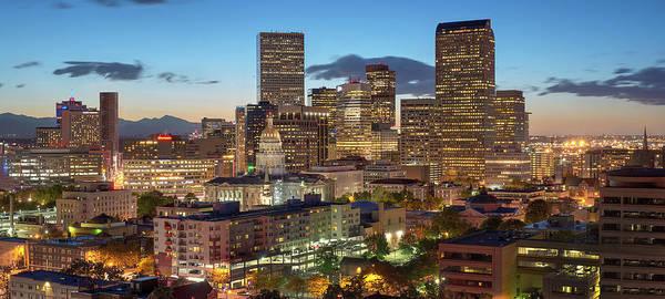 Denver Art Print featuring the photograph Denver Skyline Evening Panoramic by Steve Mohlenkamp