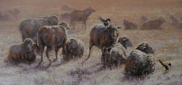 Sheep Art Print featuring the painting Frosty Morning by Mia DeLode