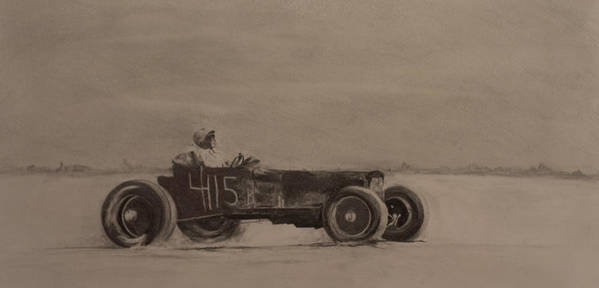 Racing Art Print featuring the drawing Bonniville by John C