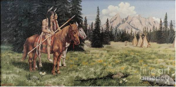 Landscape Art Print featuring the painting The Tetons Early Tribes by Wanda Dansereau