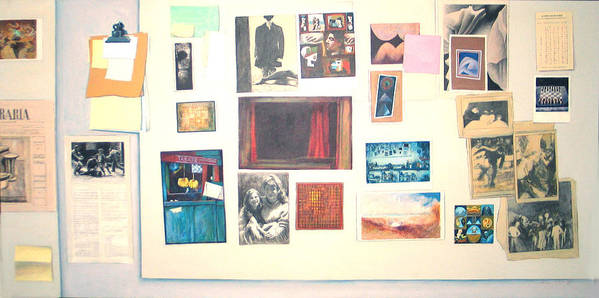 Trompe L Art Print featuring the painting Bulletin Board by James LeGros