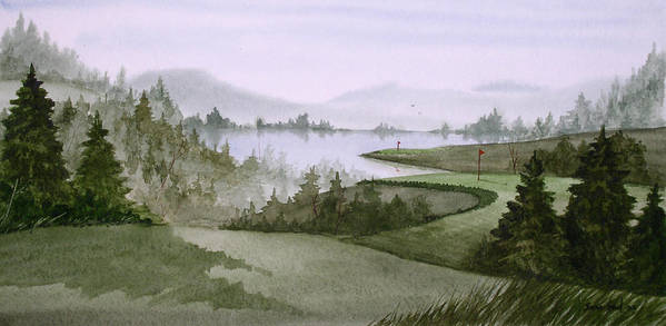 Golf Art Print featuring the painting Northern Lake Golf by Sean Seal