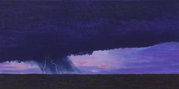 Lightning Art Print featuring the painting Kansas Lightning Storm by Garry McMichael