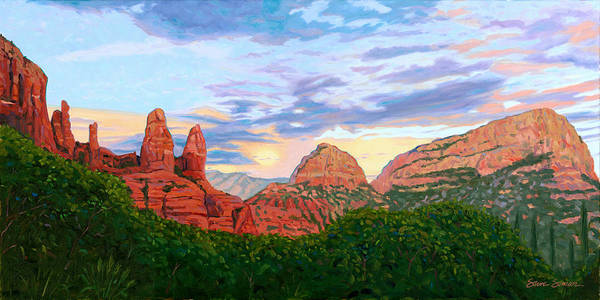 Madonna Art Print featuring the painting Madonna And Nuns - Sedona by Steve Simon