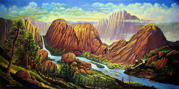 Mountains Waterfalls Rocks Southwest Landscapes Eagles Art Print featuring the painting Castle Rock Valley by Donn Kay