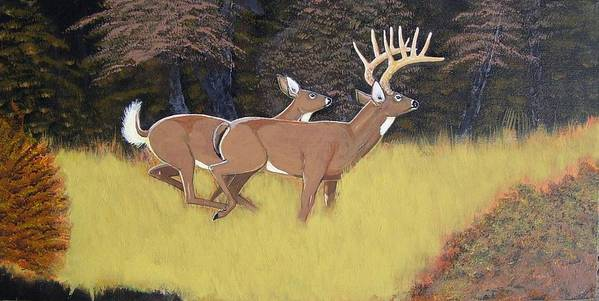 Deer Art Print featuring the painting The King And Queen by Dalton Shiflet