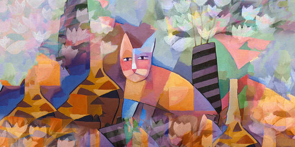 Cats Print featuring the painting Wild Cat Blues by Lutz Baar