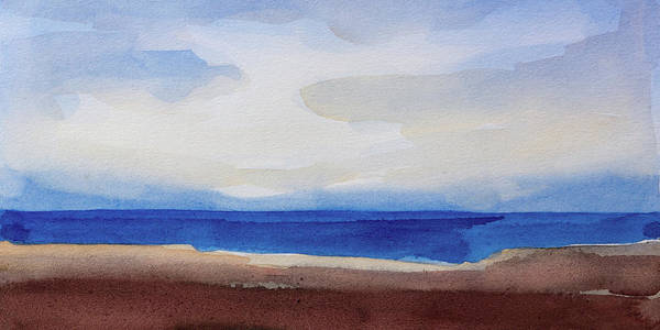 Seascape Panoramic Art Print featuring the painting Blue Horizon by Lutz Baar