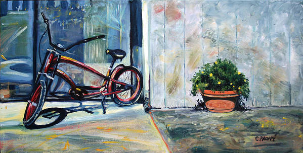 Red Bike Art Print featuring the painting Big Red Sausalito Cruiser by Colleen Proppe