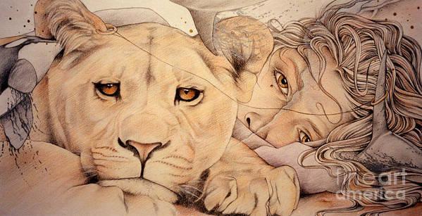 Lion Art Print featuring the drawing Lyonesse by Johanna Pieterman