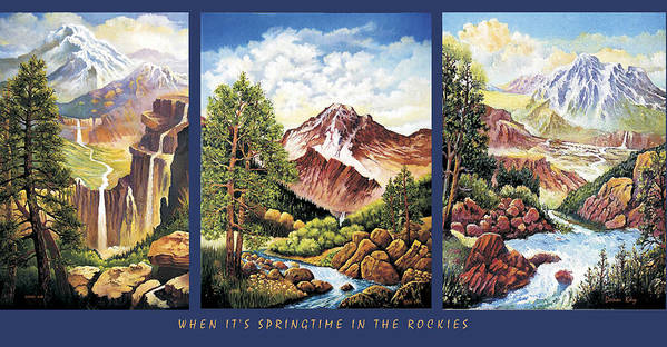 Mountains Colorado Snow Waterfall Giclee Print New Mexico Texas Trees Rocks Southwestern Landscape Art Print featuring the painting When Its Spring Time In The Rockies by Donn Kay