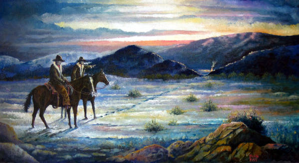 Texas Lawmen New Mexico Horses Cowboys Trees Mountains Paintings Giclee Prints Art Print featuring the painting Texas Rangers On His Trail by Donn Kay