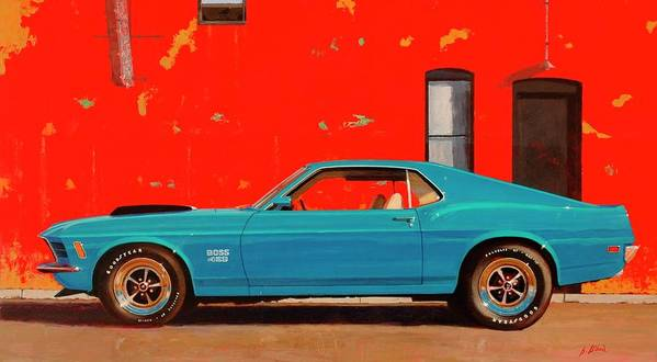 Muscle Car Art Print featuring the painting Grabber Blue Boss by Greg Clibon
