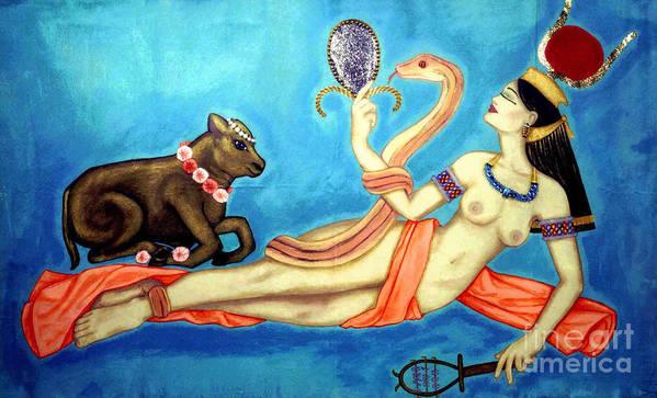 Hathor Print featuring the painting Hathor by DiVeena Seshetta