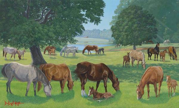 Landscape Art Print featuring the painting Happy Hollow Mares by Howard Dubois
