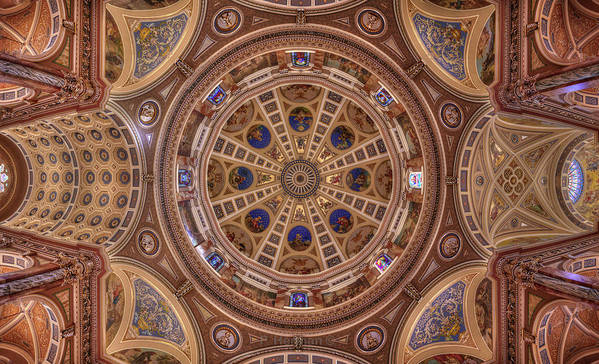 Basilica Josaphat Milwaukee Cathedral Church Tabernacle Sanctuary Angel Religion Mass Catholic Polish Wi Wisconsin Ceiling Painted Dome Fractal Art Mirror Symmetry Flower Religious Art Art Print featuring the photograph St. Josaphat Basilica Ceiling by Peter Herman
