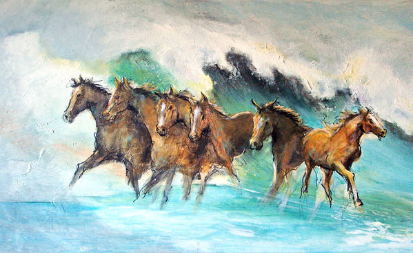 Running Horses Art Print featuring the painting Ghost Horses In Maui Shorebreak by Paul Miller
