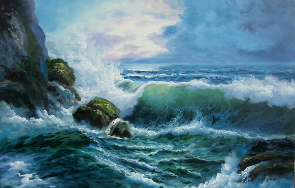 Seascape Art Print featuring the painting Rocky Coast by Imagine Art Works Studio
