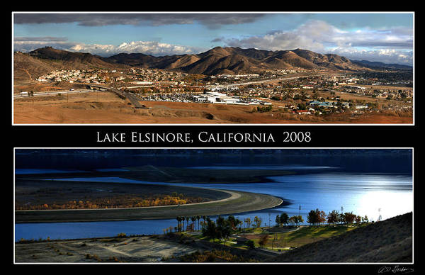 Landscape Art Print featuring the photograph Lake Elsinore 180 Degrees by Richard Gordon