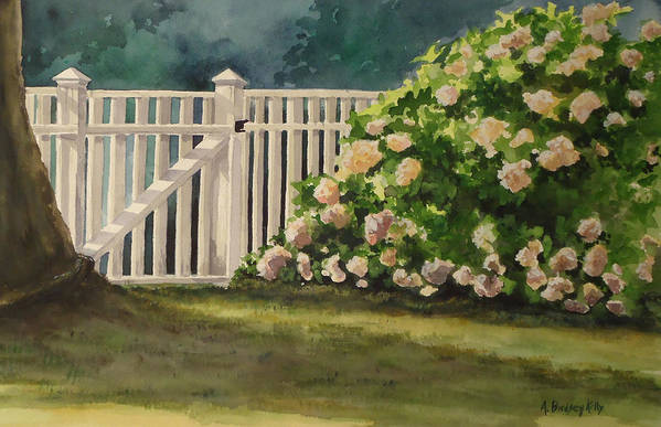 Picket Fence Art Print featuring the painting Nantucket Fence Number Two by Andrea Birdsey Kelly