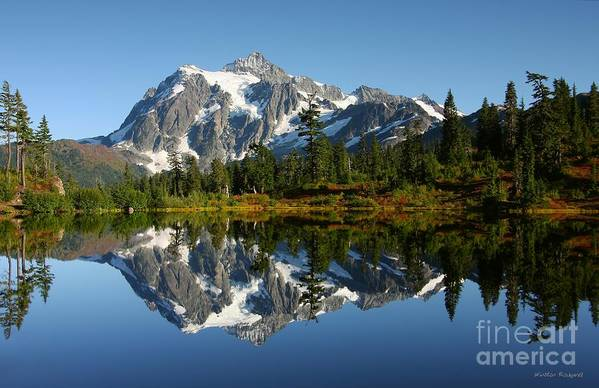 Mountain Reflection Lake Summit Mirror Art Print featuring the photograph October Reflection by Winston Rockwell