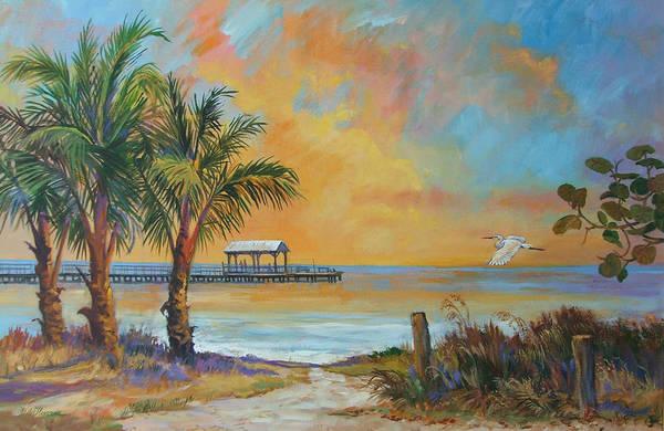 Beach Art Print featuring the painting Sunset Flight by Dianna Willman