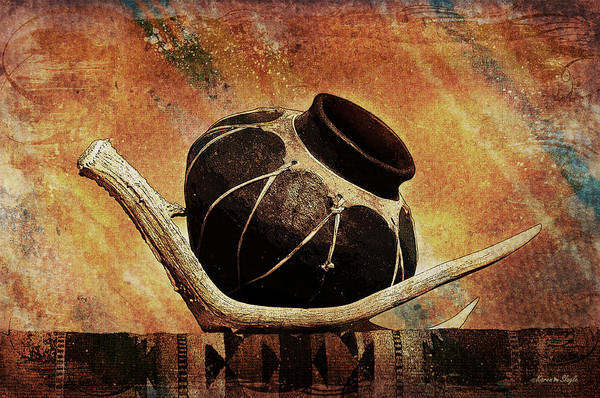 Antler Art Print featuring the photograph Antler And Olla by Karen Slagle