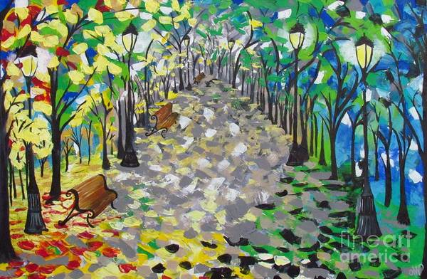 Central Park Art Print featuring the painting Central Park Serenity by Mandy Joy