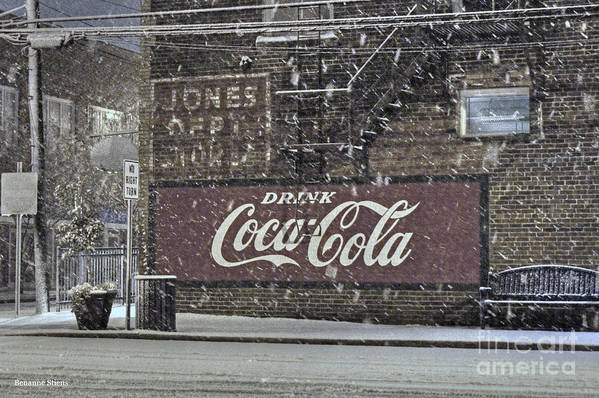 Mebane North Carolina Art Print featuring the photograph Downtown Covered In Snow by Benanne Stiens