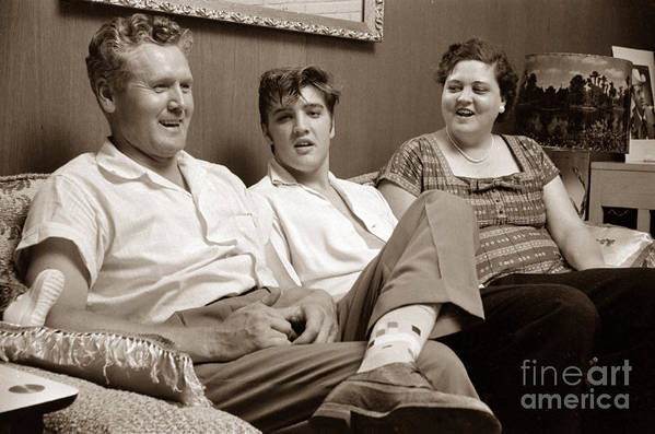 elvis presley art print featuring the photograph elvis presley at home with vernon and gladys sepia