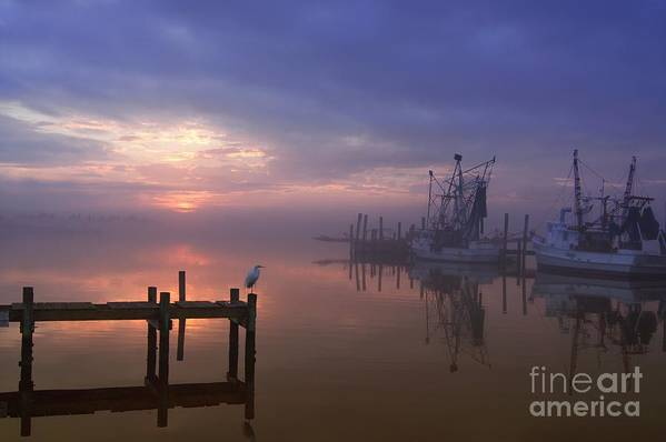 Swansboro North Carolina Art Print featuring the photograph Foggy Sunset Over Swansboro by Benanne Stiens