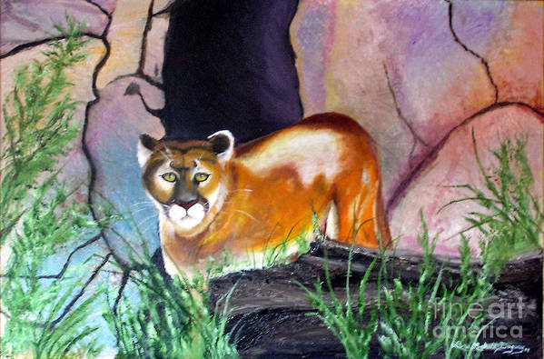 Big Cats Art Print featuring the painting Guarding The Cave by Lora Duguay