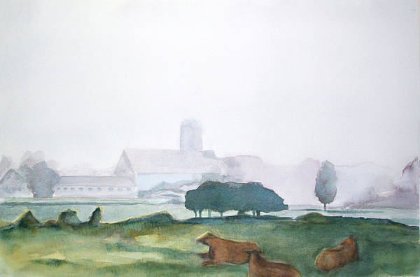 Maine Landscape Print featuring the painting Maine Cathedral by Grace Keown