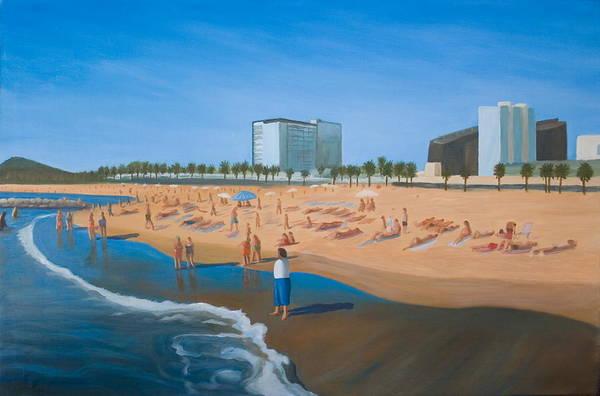 Landscape Art Print featuring the painting Playa De La Barceloneta by Stephen Degan