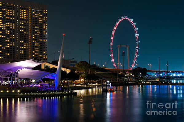 Singapore Art Print featuring the photograph Singapore Flyer At Night by Rick Piper Photography