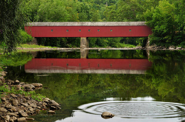 Connecticut Art Print featuring the photograph Summer Reflections At West Cornwall Covered Bridge by Thomas Schoeller