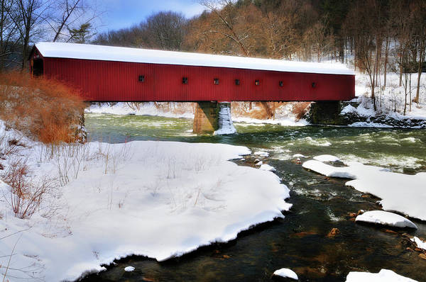 Covered Bridge Print featuring the photograph Winter Scene-west Cornwall Covered Bridge by Thomas Schoeller