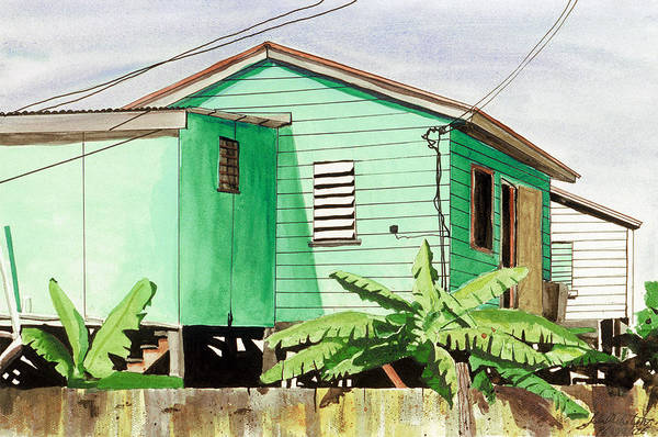 Landscape Art Print featuring the painting Banana Trees by John Westerhold