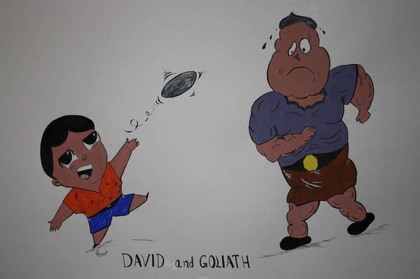 Cartoon Art Print featuring the painting Cartoon David And Goliath by Annie Abraham