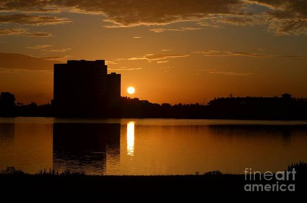 Orlando Sunrise Taken From Edgewater Drive. Art Print featuring the photograph Orlando Sunrise by Janie North