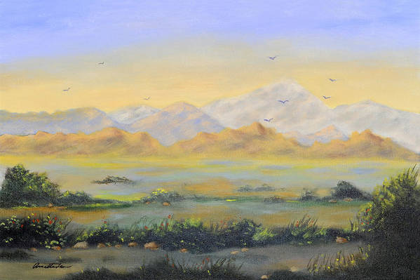 Landscape Art Print featuring the painting Desert Sunrise by Annette Tan