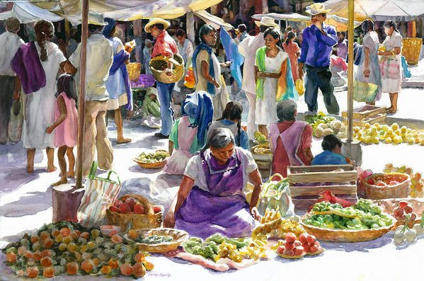 Figures Art Print featuring the painting Saturday Market by Carolyn Epperly