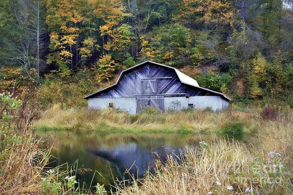 Barn And Pond Art Print featuring the photograph A Is For Autumn by Benanne Stiens