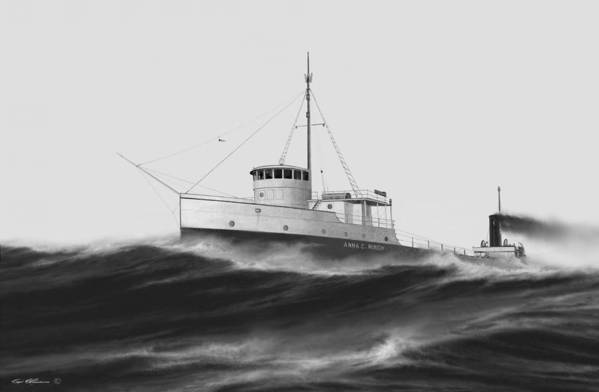 Lake Michigan. 1940 Storm. Great Lakes Ships. Ships On Canvas. Armistice Day Storm. Capt. Bud Robinson. Art Print featuring the painting Anna C. Minch by Captain Bud Robinson