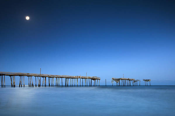 Frisco Pier Art Print featuring the photograph Frisco Pier Cape Hatteras Outer Banks Nc - Crossing Over by Dave Allen